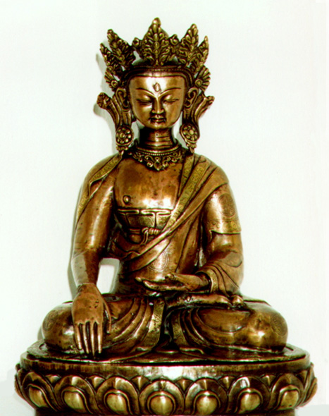 Buddhismus-und-Kunst Buddha im antique-oxidized-finish aus Nepal Buddhismus