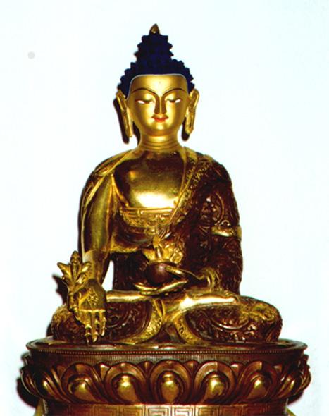 Buddhismus-und-Kunst Buddha feuervergoldet und bemalt im Mahayana-Stil Buddhismus