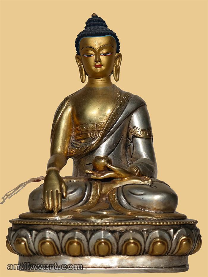transzendenter Buddha-Akshobya-232 vergoldet und versilbert