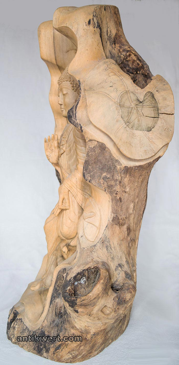 Buddha-Gautama-Holz-267 in Seitenansicht 1