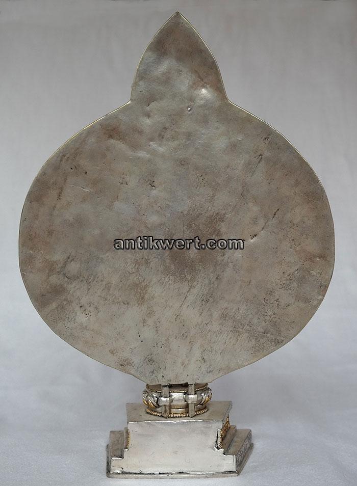 Avalokiteshvara-versilbert-vergoldet-223 Rueckansicht