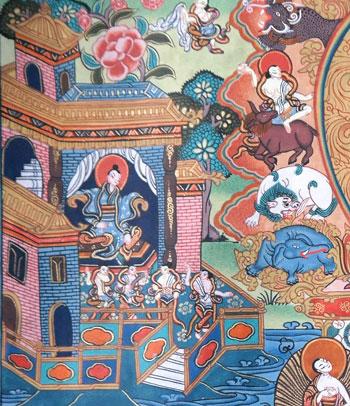 Life-of-Buddha-Thangka-303 das leben am hof