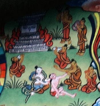 Life-of-Buddha-Thangka-303 der junge prinz siddharta verlaesst heimlich den palast und sieht eine totenverbrennung