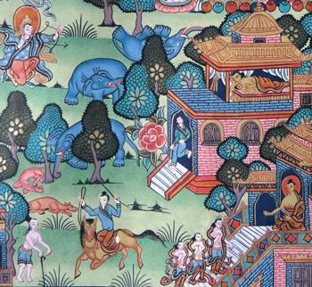 zwei szenen ein Rivale tötet einen Elefanten und der Prinz verläßt den Palast